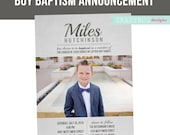LDS Baptism Invitation, Boys Baptism Announcement, grey, Great to be 8, Photoshop File, customization available read in description