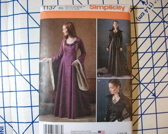 Simplicity 1137 Misses Game of Thrones style dress pattern two styles sizes 14 to 22