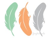 Feather Wall Decals - set of 3 bird feather vinyl wall decorations - vinyl feather stickers - tribal decor - large bird feathers wall decal