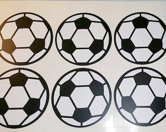 Soccer Ball Wall Decals - set of 6 - vinyl stickers - sports futbol soccer wall decorations - high school sports - vinyl soccer ball decals