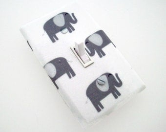 Elephant Light Switch Cover - Elephants Switch Plate - Grey Elephant Nursery Decor - Elephant Boys Room - Outlet Covers - Gender Neutral