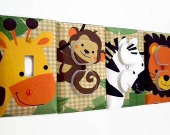 Jungle Light Switch Cover - Zebra Outlet Cover - Boys Nursery Decor - Jungle Nursery Decor - Jungle Buddies Giraffe Zebra Lion Bedroom
