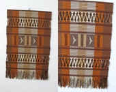 Vintage Extra Large Bohemian Hand Woven Fiber Wall Art Textile / Brown Woven Wall Hanging Textile / 1960's Wall Fiber Art Textile