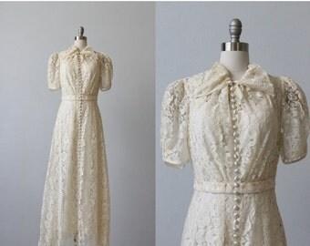SALE 1930s Wedding Dress / Lace Wedding Dress / 30s Wedding Dress / Ophelia