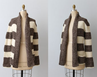 Vintage 1970s Boho Cozy Throw On Sweater / Open Front /  Brown and White Striped