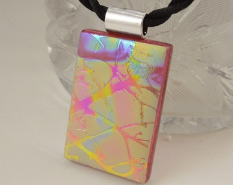 Dichroic Fused Glass Pendant - Fused Glass - Dichroic Glass - Etched Glass - Zen - Zentangle - Dichroic Jewelry - Rainbow Pendant X3034