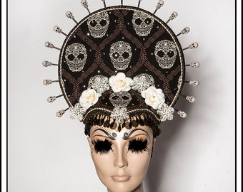 Crown of Death… Headdress with Sugar Skulls and Flowers, Beads, Coins, Rhinestones and Amulets