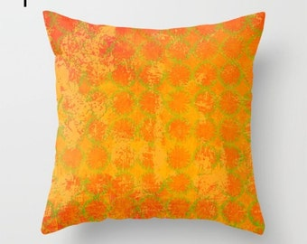 Warm orange pillow, gold pattern pillow, orange home furnishing, golden sofa pillow, log cabin pillow, vibrant office decor, sofa accessory