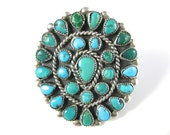 Ring, Size 5.5, Zuni, Sterling Silver, Petite Point, Green & Blue Turquoise, Multi Stone Ring, 925 Silver, Ring