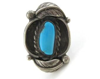 Size 6.5 Vintage Turquoise Sterling Silver Leaflet Ring