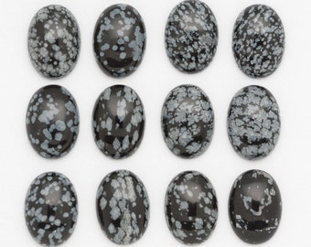 13mm x 18mm Snowflake Obsidian Oval Cabochons Black White Snow