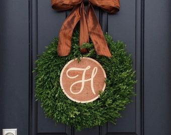 Boxwood Wreath, Monogram Year Round Wreath, Outdoor Door Wreaths, Wreaths, Monogram Boxwood, Artificial Boxwood Wreath, Faux Boxwood