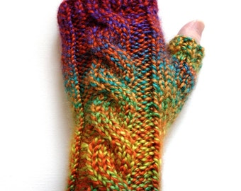 Handknit Fingerless Gloves for Women, Teen Girls, Texting Gloves, Hand Warmers, cable pattern, acrylic, bright colors, bulky weight mitts