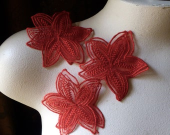 3 RED Flower Appliques Double Layered Organza for Lyrical Dance, Costumes, Headbands, Garments IRON 34red