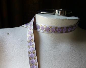 2 yds Gold & Lilac Jacquard Ribbon Trim for Garments, Reenactment Costume Design  TR