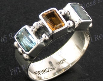 Gorgeous Blue Topaz Citrine 925 Sterling Silver Sz 6 Ring