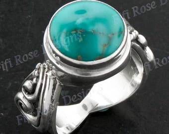 Adorable Turquoise 925 Sterling Silver Sz 8 Ring