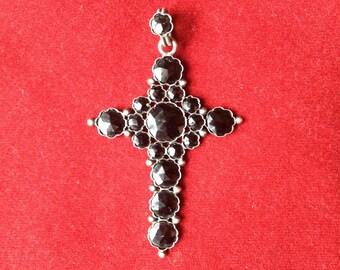 Amazing antique fench 19th century faceted stone cross, memento mori