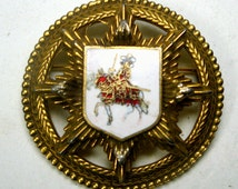 Medieval Shield Pin, Enamel Crusader on Horseback, Gold Large Double Iron CROSS Brooch, Warrior Pin, 1960s Thrones Game