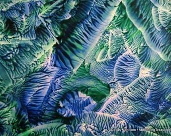 5X7 Blue Green Encaustic (Wax) Original Abstract Painting. Beeswax Painting. SFA (Small Format Art). Sea / Sky. Postcard Size Desk Art