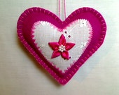 Bright Pink Felt Heart Ornament | Valentine's Day | Holidays | Wedding Bridal | Party Favor | Handmade | Decoration | Tree Ornament | #3