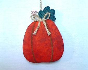 Large Pumpkin Ornament | Fall Decor | Party Favor | Rustic Country | Autumn Decor | Fabric Pumpkin | Tree Ornament | Handmade | Folk Art| #2