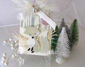 Winter Fox Holiday XL Deluxe Art Gift Tag~blue~winter white~pink~gold~hang tags~gift bag swag~pretty packaging