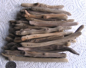 36 Driftwood Sea Wood Long Slender Sticks Top Drilled 1.5mm holes Supplies (1803)