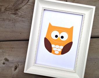 Orange Owl Print, Owl Wall Art Print, Home Decor, Baby Nursery Picture, Woodland Nursery Decor, Forest Animal Art