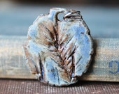 Nature Ceramic Pendant in Desert Sky Blue, handcarved and impressed with a real Wisconsin Evergreen, great with jeans!