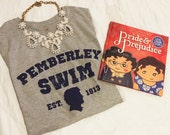 READY to SHIP Womens Pemberley Swim Pride and Prejudice t shirt gray and navy size S