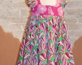 SALE Modern Organic Cotton Girls Dress - Pink and Green Floral EMMA dress - custom made to order - sizes 2T 3T 4T 5 6 7  - kids fashion