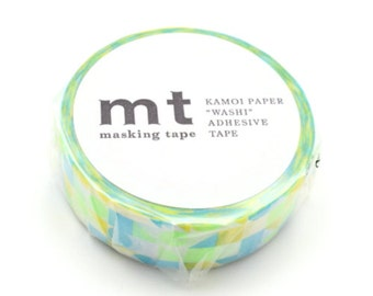 mt deco - washi masking tape - circles, triangles and squares - single piece - pink neon/blue,yellow and green