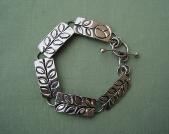 Bracelet, Leaf Bracelet, Handmade, Sterling Silver, Link Bracelet, OOAK Bracelet