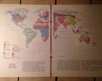 1962 World Religions Map Antique Illustration