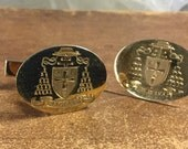 Tufts University Men's 14K Gold Cufflinks Handsome Engraved with University Shield and Motto Pax et Lux Made by Anson