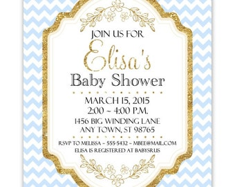 Blue and Gold Baby Shower Invitation, Blue Chevron with Gold Accent Baby Shower Invite, CUSTOM 4x6 or 5x7 size, YOU Print