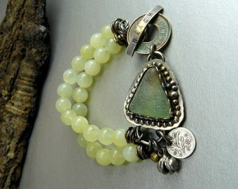 Beachcomber- Sea Glass and Jade Bracelet set in Sterling Silver verdigris Coin Toggle and charm Ornate Sea Ocean unique Glass beach Original