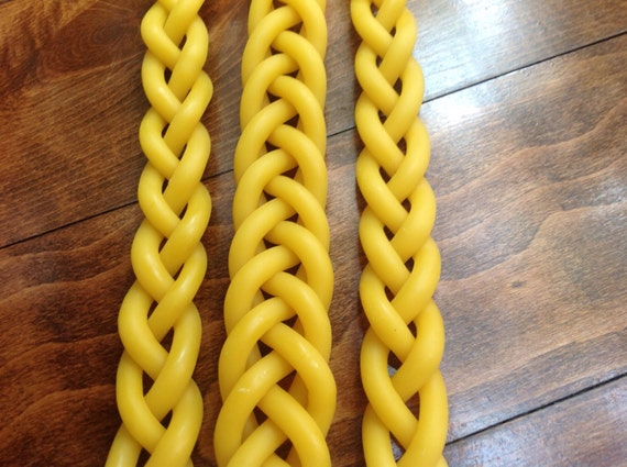 braided beeswax Havdalah candle - 3 wick - Jewish wedding gift