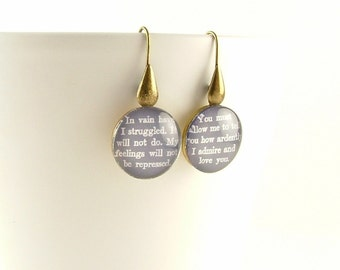 Jane Austen Jewelry - Glass Drop Earrings - Literary Pride and Prejudice - Mr Darcy Quote - Romantic Gift For Wife