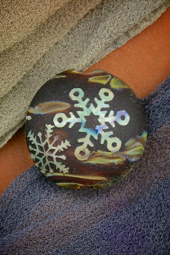 "Handmade Lampwork Glass SRA ""Woodland Snowstorm"" Sandblasted Focal Bead Lentil Silver Glass Lustre"