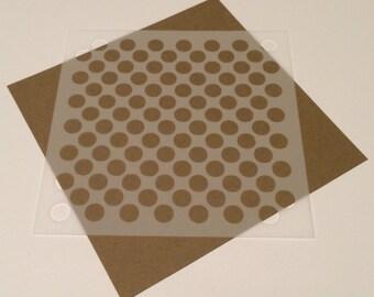 Square 5 inch stencil - Circles / Polka Dots