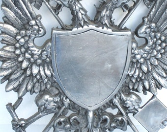 Vintage Cast Metal Medieval Shield Renaissance Decor Coat of Arms Armor Wall Hanging
