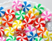 Candy Cabochons - 20mm Big Chunky Peppermint Swirl Candy Drop Clay or Resin Cabochons - 6 pcs set
