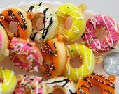 Squishy Donut Charms - 35mm Super Cute Squishy Fake Donut Charms or Cabochons with Sprinkles and Frosting - for fake food crafts - 4 pc set