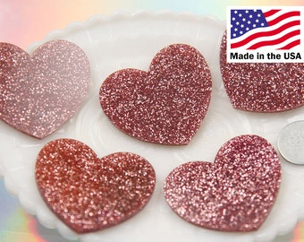 Heart Cabochons - 45mm Lovely Pink Glitter Heart Acrylic or Resin Cabochons - 4 pc set