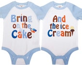 Twin Boys Birthday Shirts Twin Cake Smash Rompers by Mumsy Goose Twin 1st Birthday Rompers
