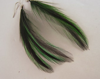 feather earrings Short  green Badger