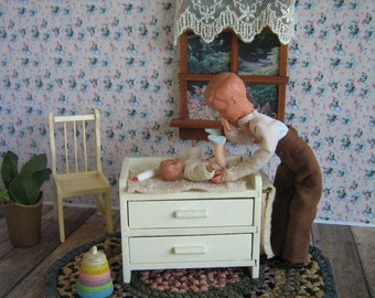 Vintage Dollhouse Furniture- 30s German Caco Baby and German Wooden Changing Table w/ Original Linens