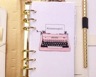 Vintage Typewriter Planner Girl  Planner Dashboard - Personal & A5 Size - Filofax Dashboard Kikki K Dashboard Webster Pages Dashboard